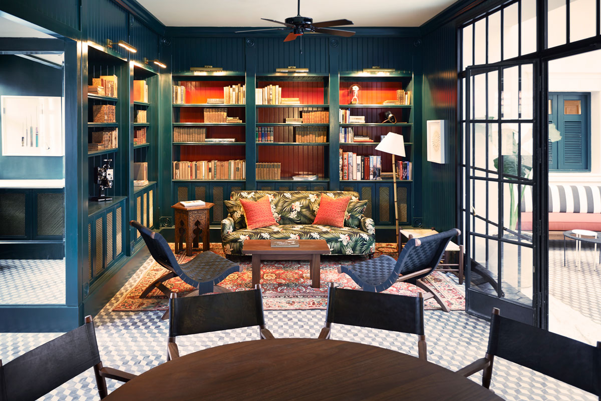 Biblioteca del American Trade Hotel. Foto: American Trade Hotel.