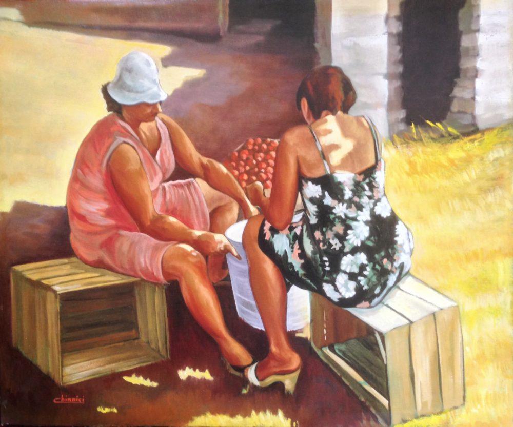 Mimma e Angela. Olio su tela 50x60cm. 1986 Lorenzo Chinnici