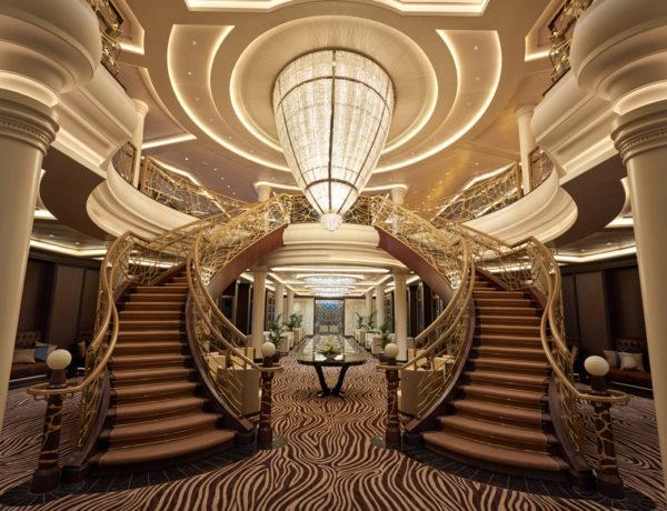 Atrio, Seven Seas Explorer. Foto: Cortesía de Cruises Only