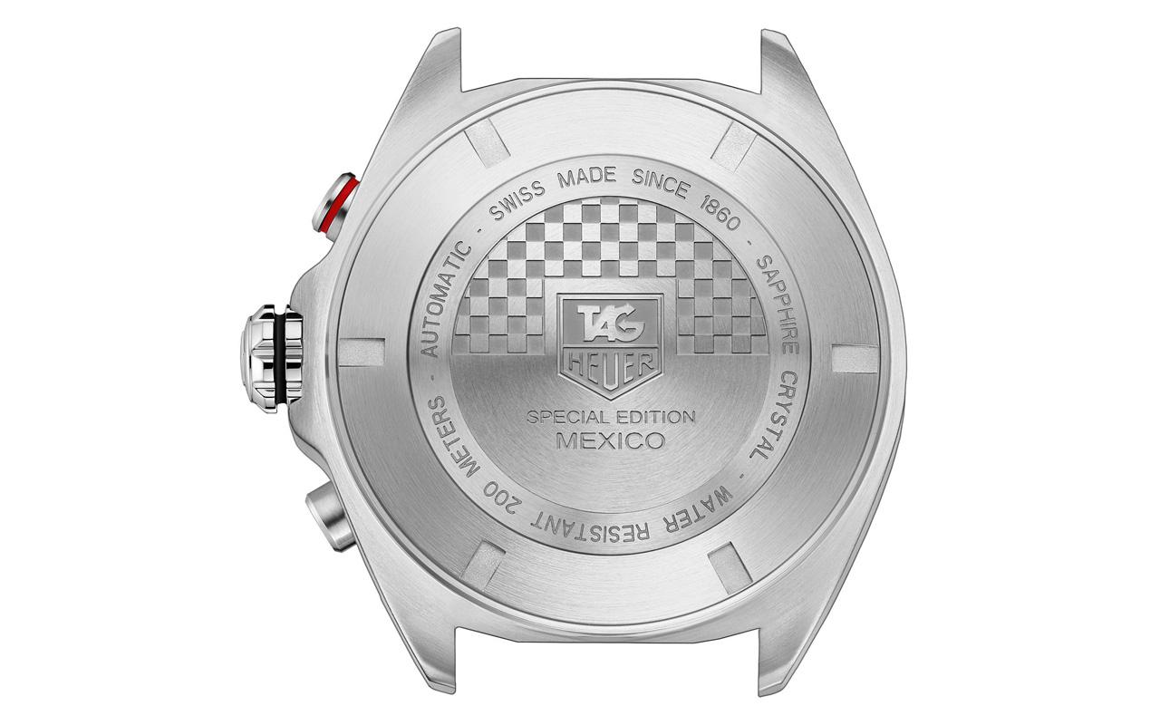 Reverso de la caja del TAG Heuer Formula 1 Edición Especial México. Foto: TAG Heuer.
